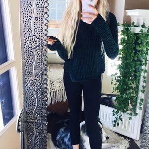Sweaters - CHENILLE// Green Velvety Aero Sweater